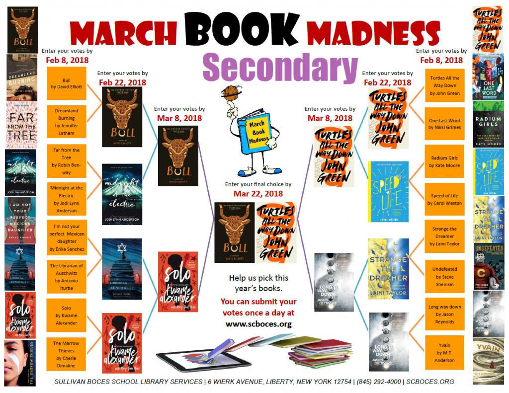 Image shows the book covers of the books that students are voting on in the March Book Madness challenge