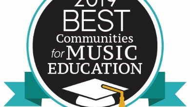 A logo for the 2019 Best Communities for Music Education with a graduation cap on it