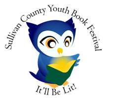 Sullivan County Youth Book Festival logo - contains an illustration of an owl reading a book