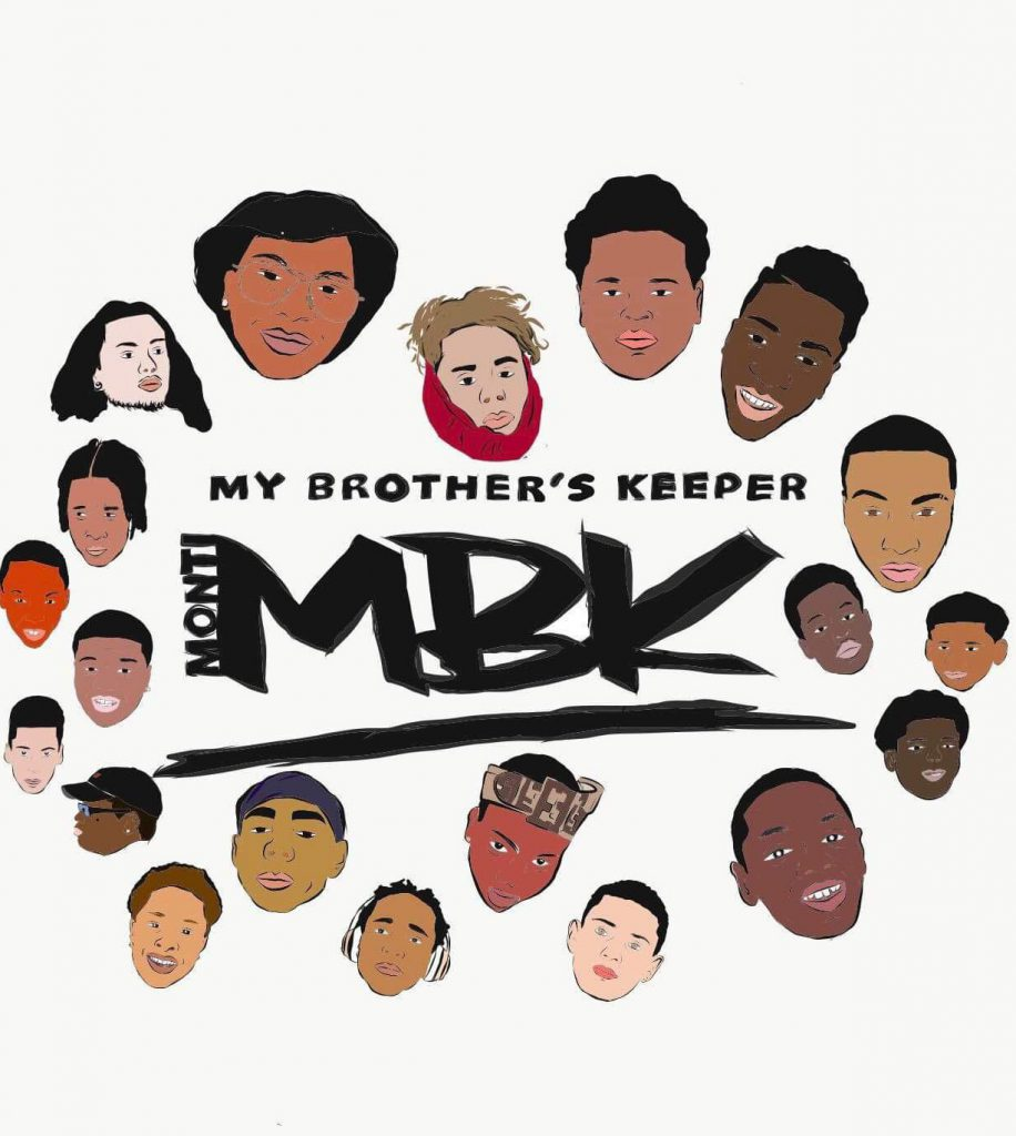 A graphic with many faces in a circle with MBK in the center.