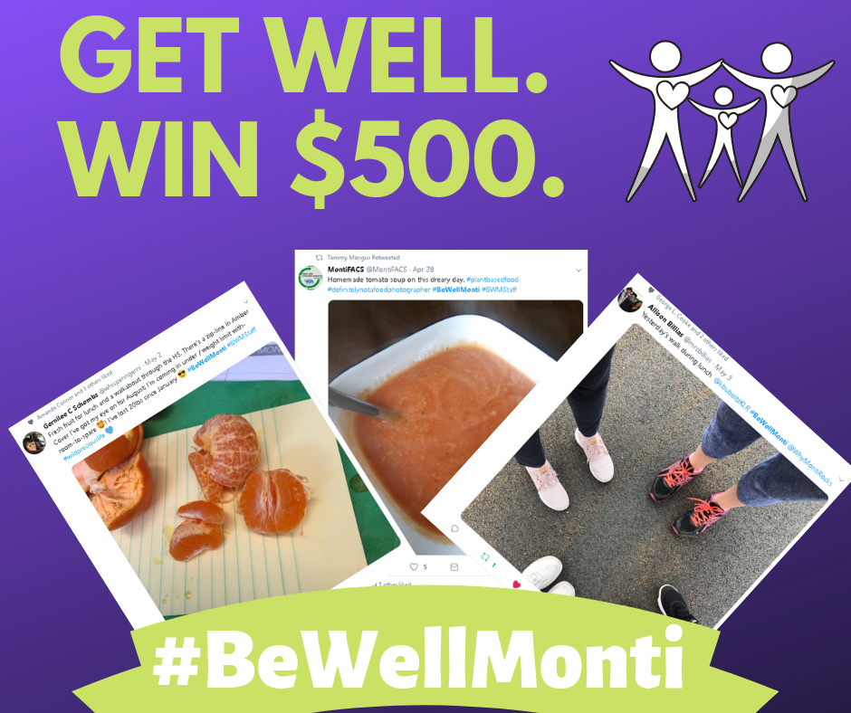 logo for be well monti challenge. Shows three tweets, and icon of stick figures holding hands and the text #BeWellMonti