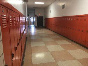 a hallway of lockers