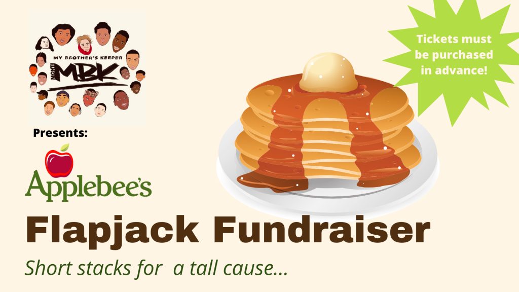 a photo of pancakes with the text flapjack fundraiser