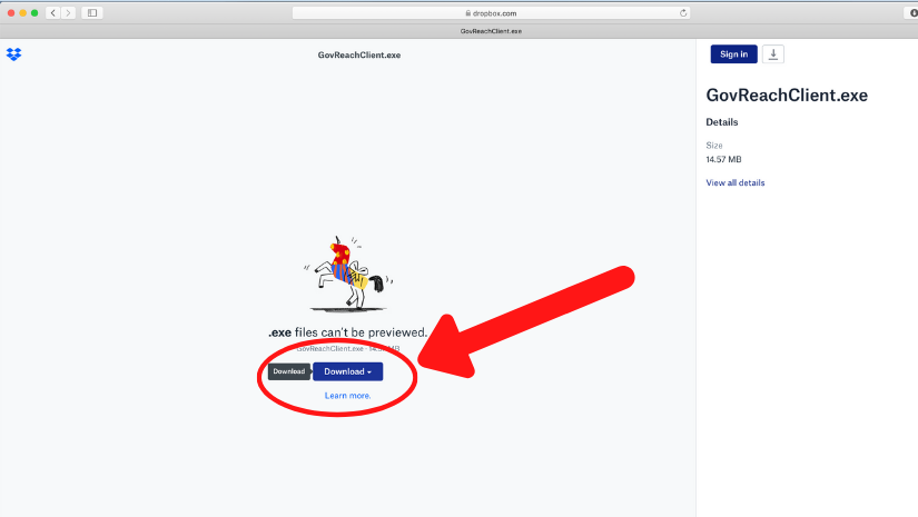 screenshot of dropbox page with download button circled in red