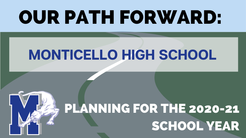 "icon of pathway leading to blue sky with text ""Our Path Forward - Monticello High School"""
