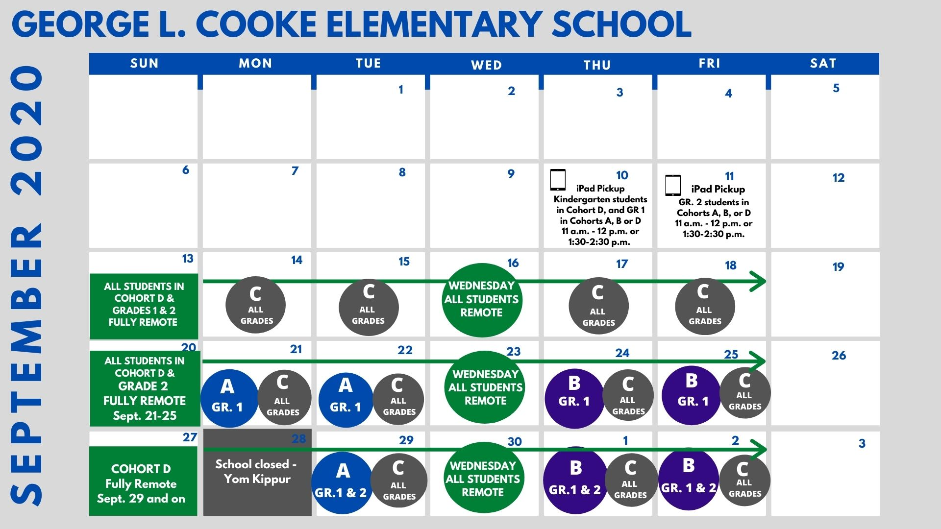 a calendar showing cohorts