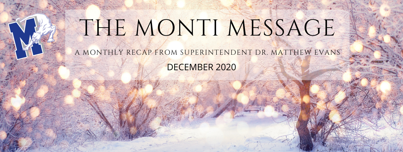 """winter scene with the words """"The Monti Message"""" across the top"""