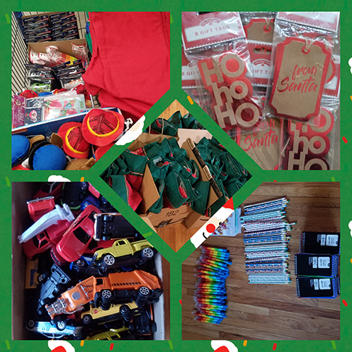 Five photos in one - each shows toys for small kids that were put together into stockings