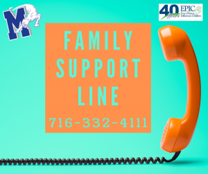 the words Family Support Line are written on an aqua background with an image of a phone