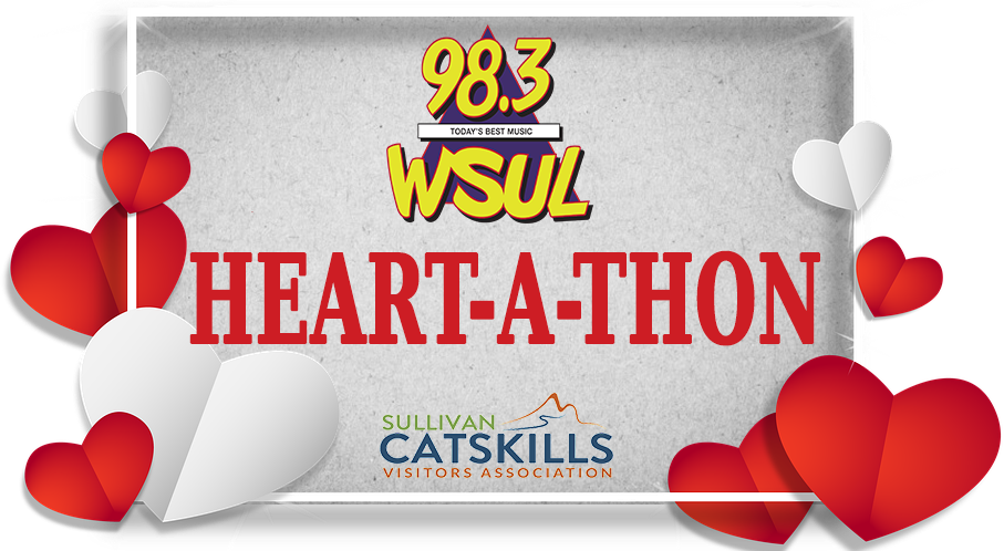 logo for the heart a thon. There is the text Heart a Thon with red hearts