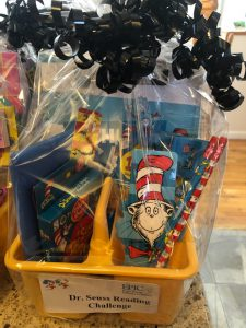 photo of a gift basket containing dr. seuss books