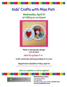 A colorful line on the bottom and a craft in the center made with yarn and spirograph paper. Information about the event is on the page.