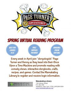 A heading that says Page Turner Spring Virtual Reading Program with information on the bottom.