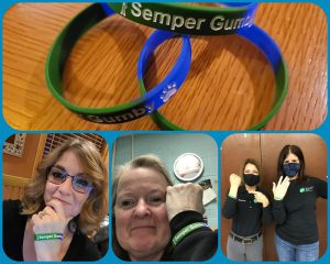 A collage of four photos. One with stretchy bracelets that say semper gumby, and three with people holding up their arms with the bracelets on.