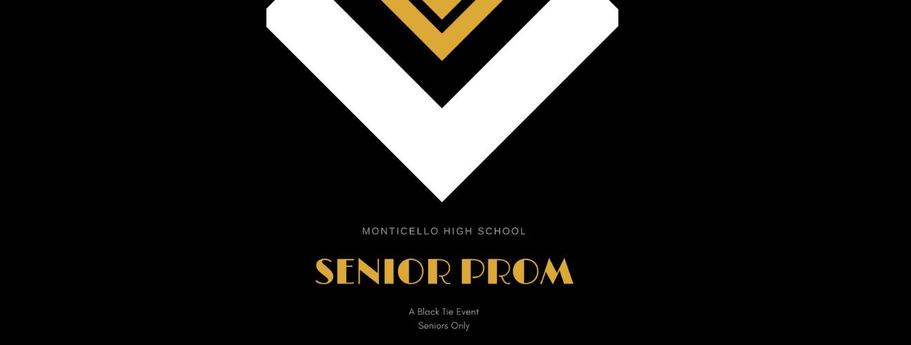 Black background with orange text: Senior Prom