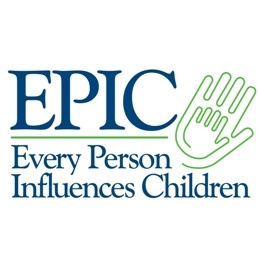 Every Person Influences Children written in blue, with the large EPIC and a child's hand inside of an adult's hand.