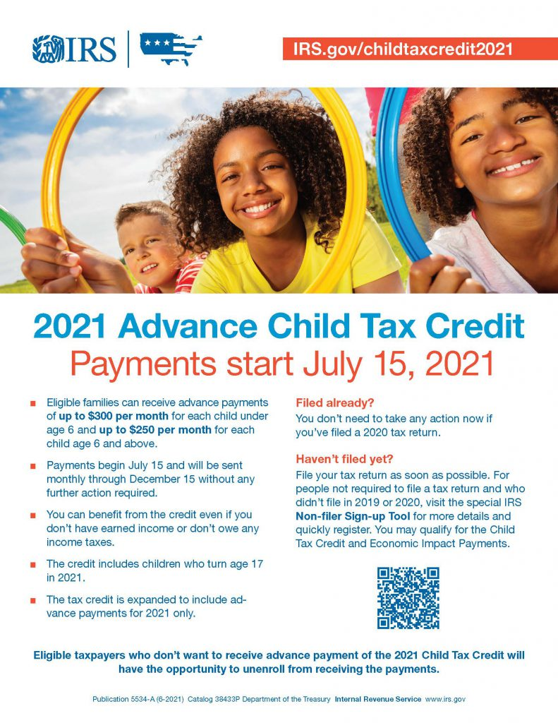 Three children smiling with blue sky behind them. Text says 2021 advance Child Tax Credit Payments start July 15, 2021