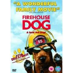 """A picture of a brown dog wearing a fire helmet and sunglasses. Above it says """"A wonderful family movie"""" Firehouse Dog."""